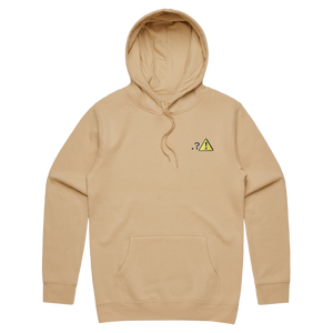 Caution   Unisex Fleece Embroidered Hoodie in Tan / XXL by Michael Pederson