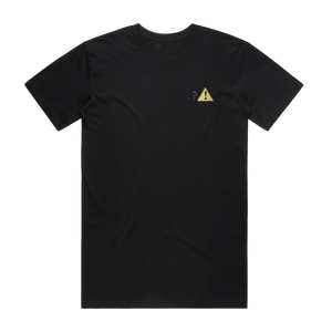 Caution   Men's 100% Organic Cotton Embroidered T-shirt in Black / XXL by Michael Pederson