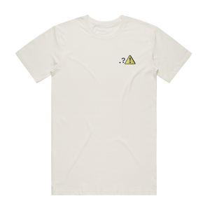 Caution   Men's 100% Organic Cotton Embroidered T-shirt in Natural / XXL by Michael Pederson