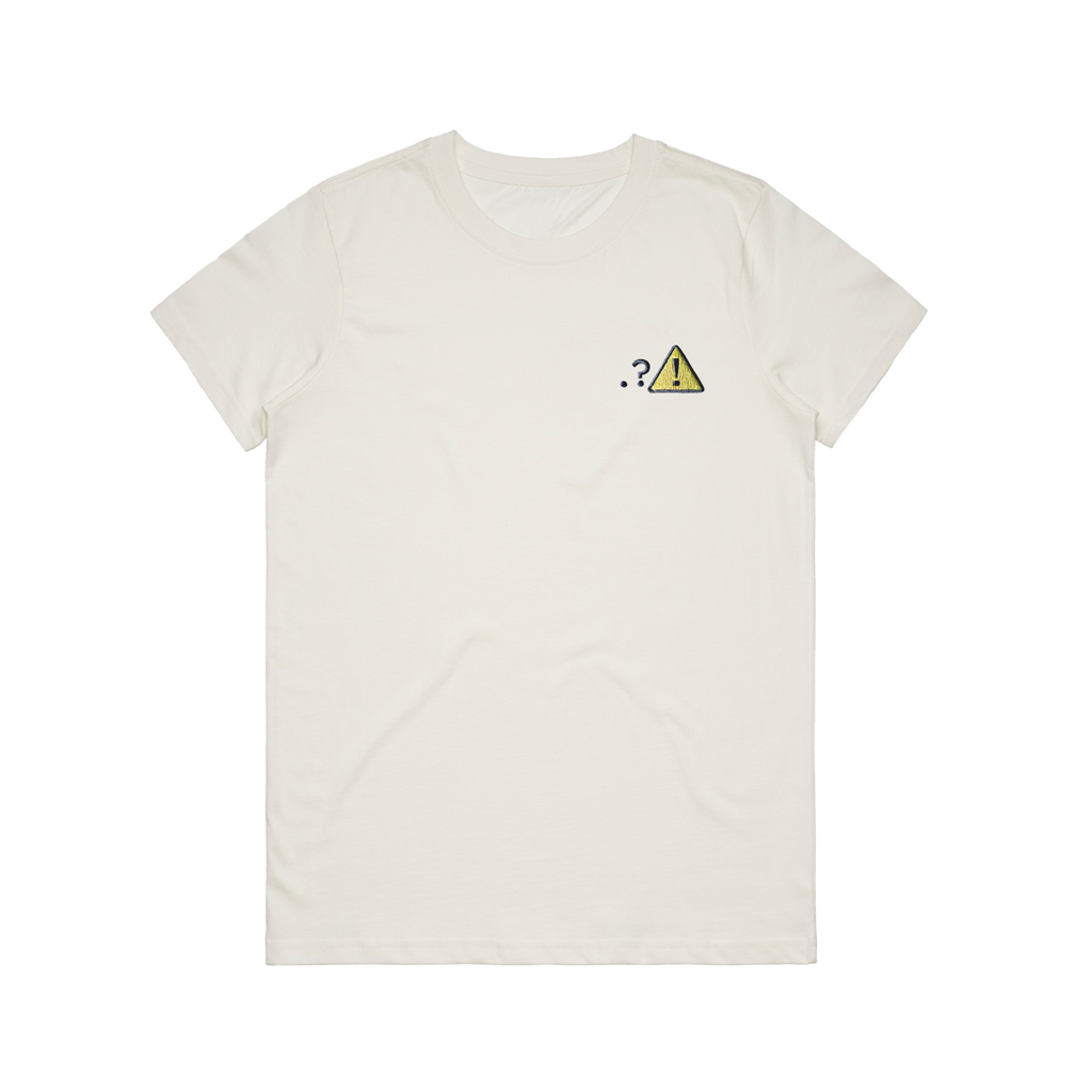 Caution   Women's 100% Organic Cotton Embroidered T-shirt in Natural / XXL by Michael Pederson