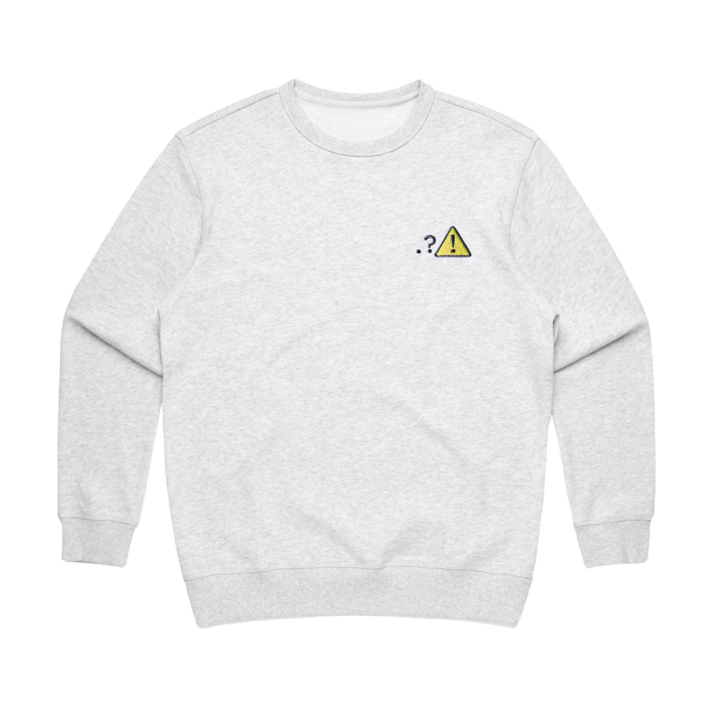 Caution   Women's 100% Cotton Embroidered Sweatshirt in Marble White / XL by Michael Pederson