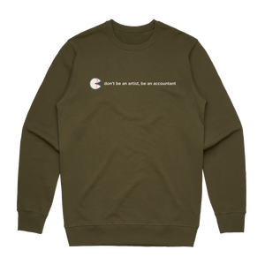 The Unfortunate Cookie 02   Men's 100% Cotton Sweatshirt in Army Green / XXL by Raymond Tan