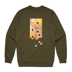 Colour Pixels   Men's 100% Cotton Minimal Sweatshirt in Army Green / XXL by Buff Diss