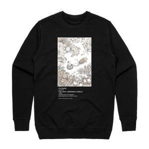The Vast Undersea World   Men's 100% Cotton Minimal Sweatshirt in Black / XXL by Enpei Ito