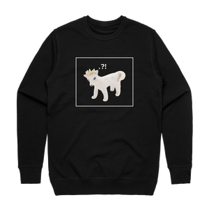 Dog With A Crown   Men's 100% Cotton Minimal Sweatshirt in Black / XXL by erinswindow