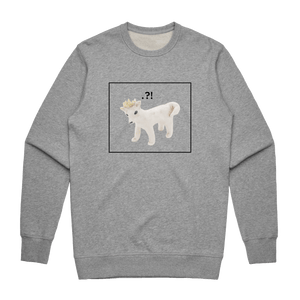 Dog With A Crown   Men's 100% Cotton Minimal Sweatshirt in Grey / XXL by erinswindow