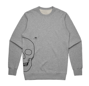 Skull   Men's 100% Cotton Minimal Sweatshirt in Grey / XXL by Buff Diss