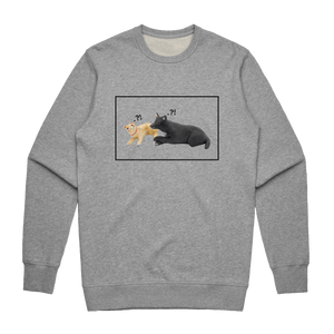Apple & Chibi   Men's 100% Cotton Minimal Sweatshirt in Grey / XXL by erinswindow