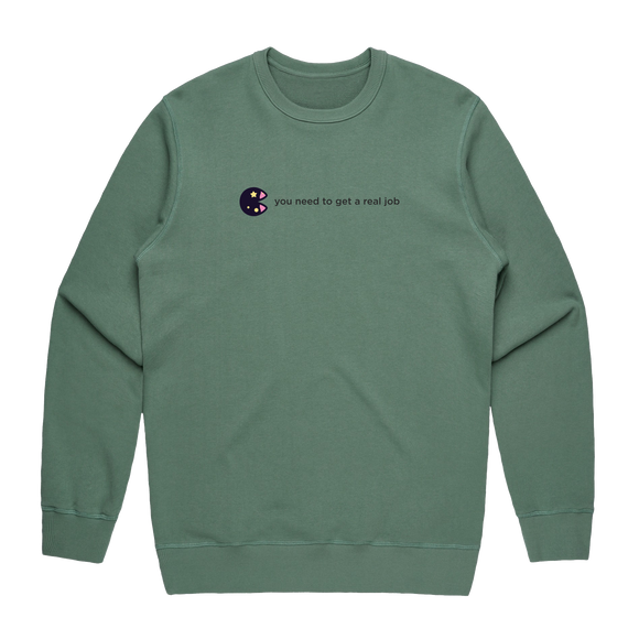 The Unfortunate Cookie 04   Men's 100% Cotton Sweatshirt in Sage / XXL by Raymond Tan