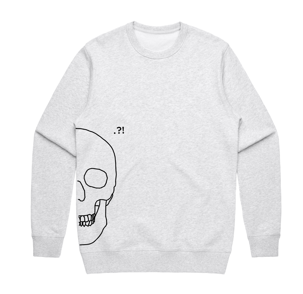 Skull   Men's 100% Cotton Minimal Sweatshirt in Marble White / XXL by Buff Diss