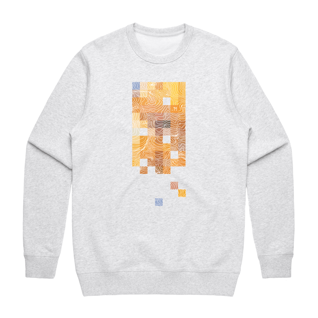 Colour Pixels   Men's 100% Cotton Minimal Sweatshirt in Marble White / XXL by Buff Diss