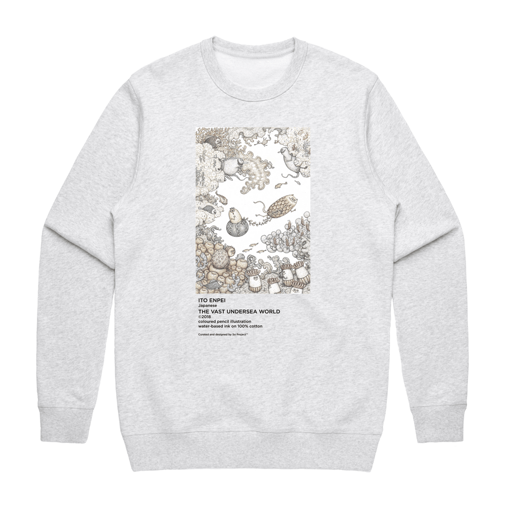 The Vast Undersea World   Men's 100% Cotton Minimal Sweatshirt in Marble White / XXL by Enpei Ito