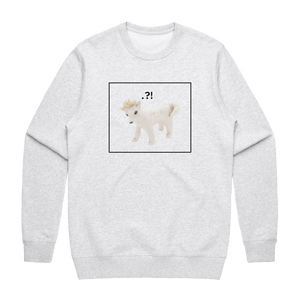 Dog With A Crown   Men's 100% Cotton Minimal Sweatshirt in Marble White / XXL by erinswindow