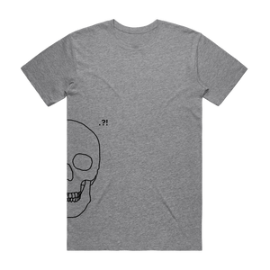 Skull   Men's 100% Organic Cotton Minimal T-shirt in Grey / XXL by Buff Diss