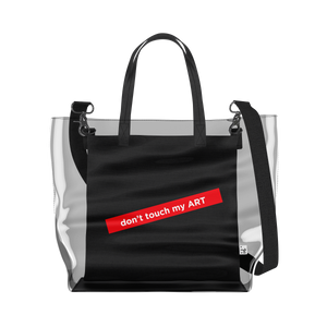 don't touch my ART   Clear Tote Bag in Clear / Black by So Project™