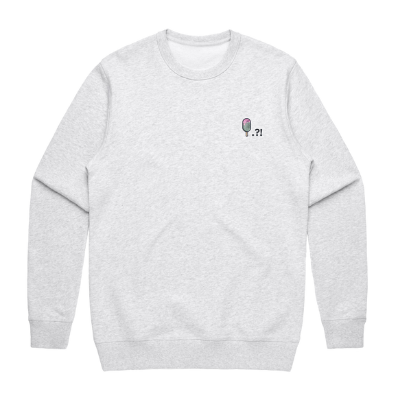 Cake Popsicle   Men's 100% Cotton Embroidered Sweatshirt in Marble White / XXL by Raymond Tan
