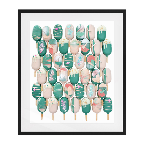 Cake Popsicle 01   Solid Wood Framed Art Print in Black Frame / 83 X 63 CM by Raymond Tan