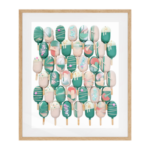 Cake Popsicle 01   Solid Wood Framed Art Print in Natural Frame / 83 X 63 CM by Raymond Tan