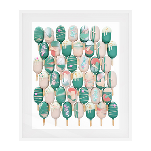 Cake Popsicle 01   Solid Wood Framed Art Print in White Frame / 83 X 63 CM by Raymond Tan