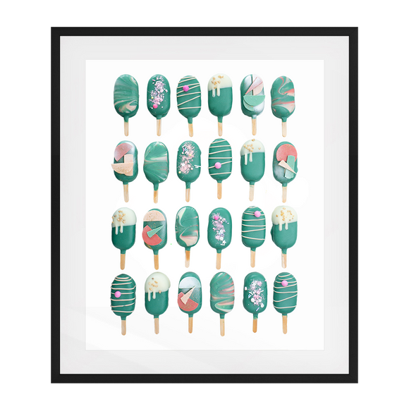 Cake Popsicle 02   Solid Wood Framed Art Print in Black Frame / 83 X 63 CM by Raymond Tan