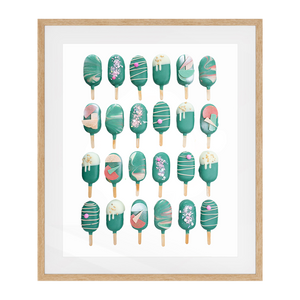 Cake Popsicle 02   Solid Wood Framed Art Print in Natural Frame / 83 X 63 CM by Raymond Tan