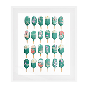 Cake Popsicle 02   Solid Wood Framed Art Print in White Frame / 83 X 63 CM by Raymond Tan