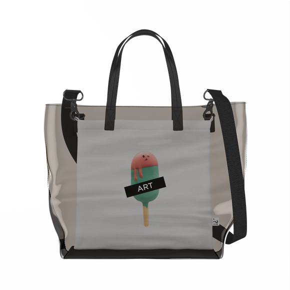 Watermelon Popsicle   Clear Tote Bag in Dark / Cream by Raymond Tan