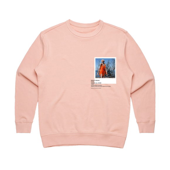 Hands All Over 01   Women's 100% Cotton Gallery Sweatshirt in Pale Pink / XL by Serap Osman