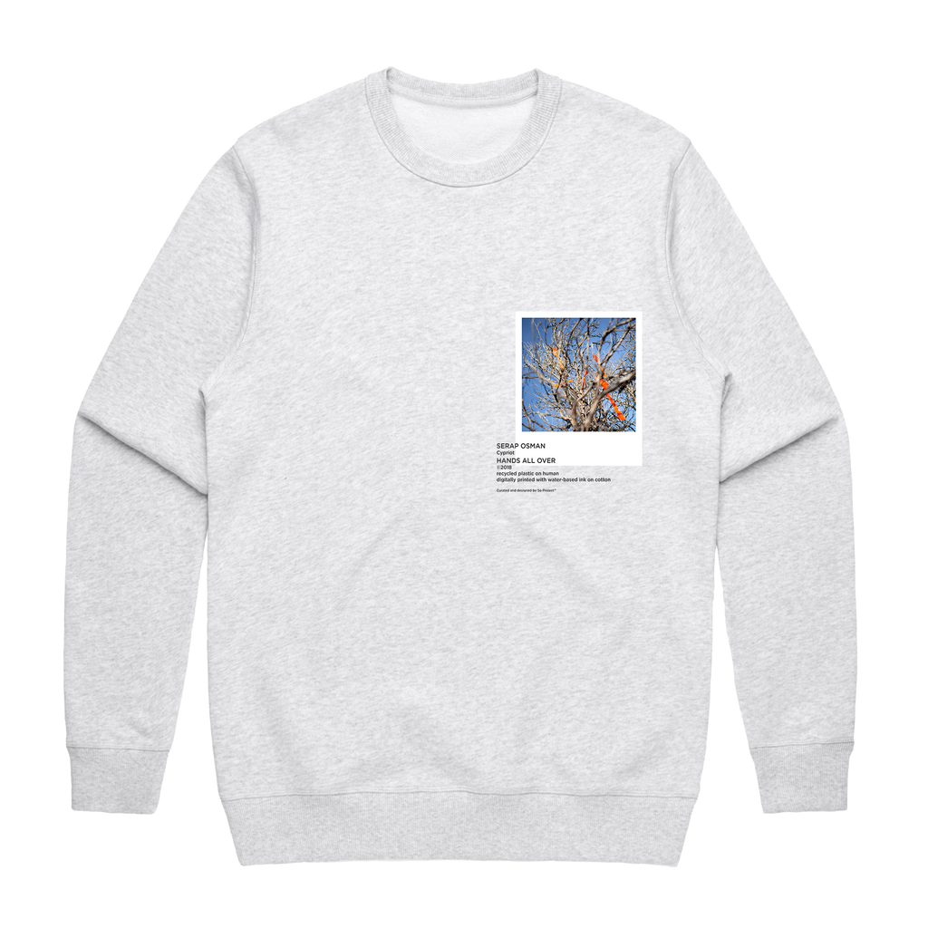 Hands All Over 02   Men's 100% Cotton Gallery Sweatshirt in Marble White / XXL by Serap Osman