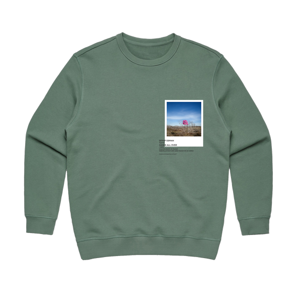 Hands All Over 06   Women's 100% Cotton Gallery Sweatshirt in Sage / XXL by Serap Osman