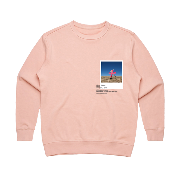Hands All Over 07   Women's 100% Cotton Gallery Sweatshirt in Pale Pink / XL by Serap Osman