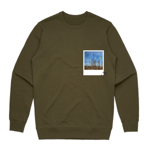 Hands All Over 09   Men's 100% Cotton Minimal Sweatshirt in Army Green / XXL by Serap Osman