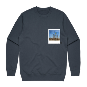 Hands All Over 09   Men's 100% Cotton Minimal Sweatshirt in Air Force Blue / XXL by Serap Osman