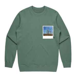 Hands All Over 09   Men's 100% Cotton Minimal Sweatshirt in Sage / XXL by Serap Osman