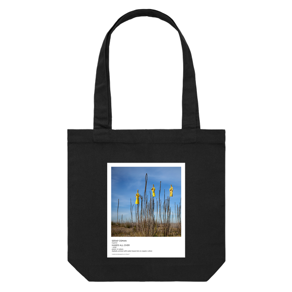 Hands All Over 09   43 X 43 CM Tote Bag in Black by Serap Osman