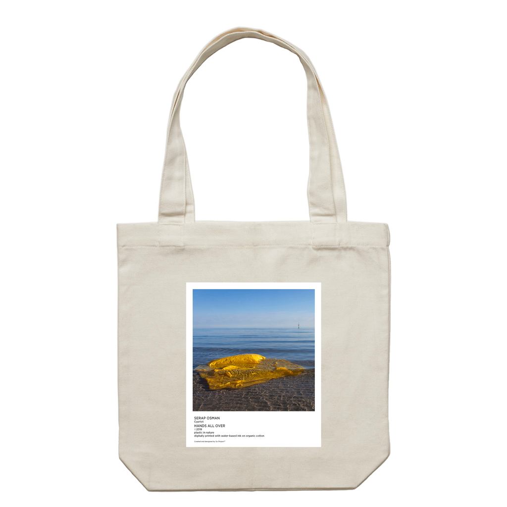 Hands All Over 10   43 X 43 CM Tote Bag in Cream by Serap Osman