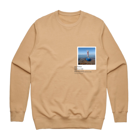 Hands All Over 11   Men's 100% Cotton Gallery Sweatshirt in Tan / XXL by Serap Osman