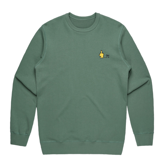 Hands All Over   Men's 100% Cotton Embroidered Sweatshirt in Sage / XXL by Serap Osman