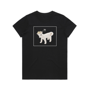 Dog With A Crown   Women's 100% Organic Cotton Minimal T-shirt in Black / XXL by erinswindow