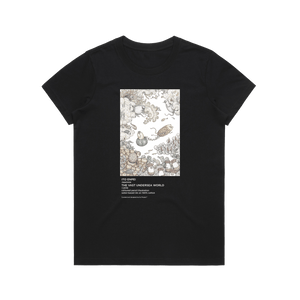 The Vast Undersea World   Women's 100% Organic Cotton Minimal T-shirt in Black / XXL by Enpei Ito