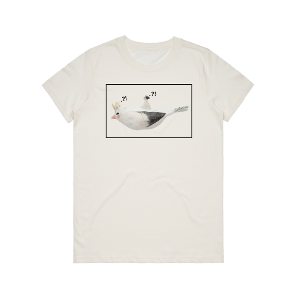 Bird Rider 01   Women's 100% Organic Cotton Minimal T-shirt in Natural / XXL by erinswindow