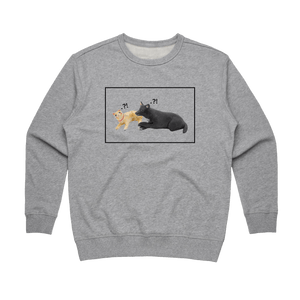 Apple & Chibi   Women's 100% Cotton Minimal Sweatshirt in Grey / XXL by erinswindow