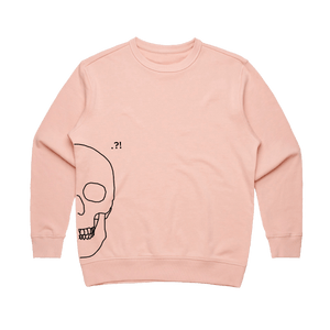 Skull   Women's 100% Cotton Minimal Sweatshirt in Pale Pink / XL by Buff Diss