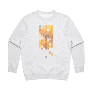 Colour Pixels   Women's 100% Cotton Minimal Sweatshirt in Marble White / XL by Buff Diss