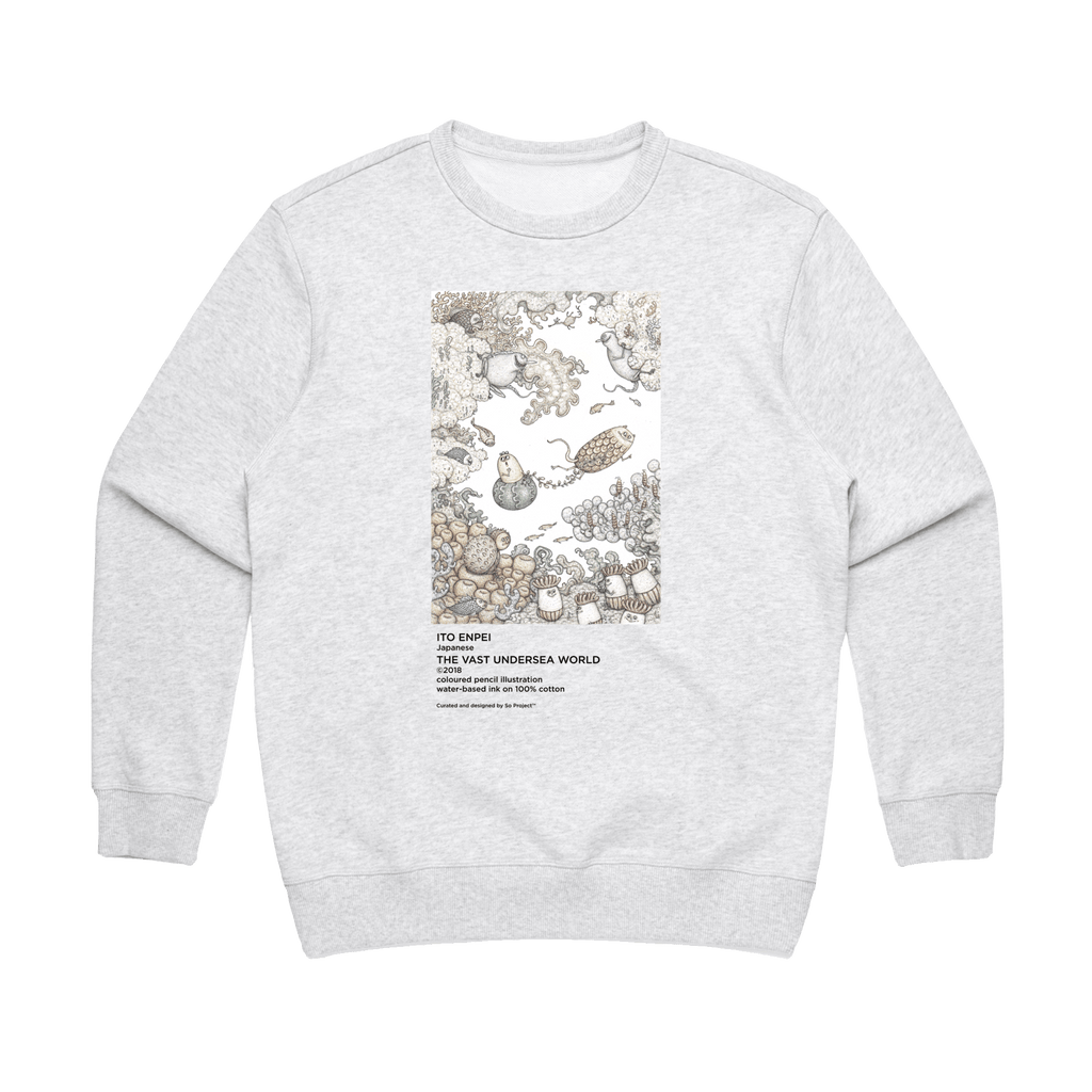 The Vast Undersea World   Women's 100% Cotton Minimal Sweatshirt in Marble White / XL by Enpei Ito