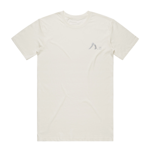 Shark   Men's 100% Organic Cotton Embroidered T-shirt in Natural / XXL by Yuuna Okanishi