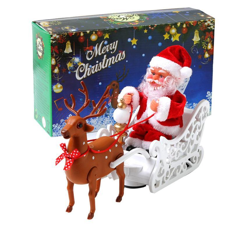 Music Doll Pulled By Electric Santa Claus Deer Car