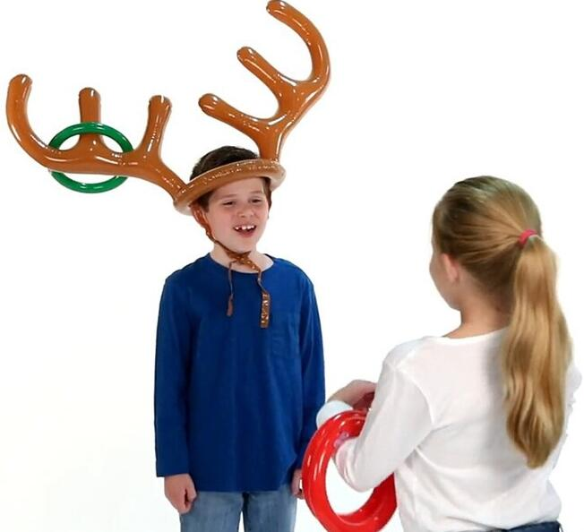 Two-Player Inflatable Reindeer Antler Ring Toss Game for Xmas Party