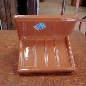 Vintage Ceramic Soap Dish in Light Brown