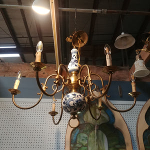 Vintage Delft and Brass Chandelier